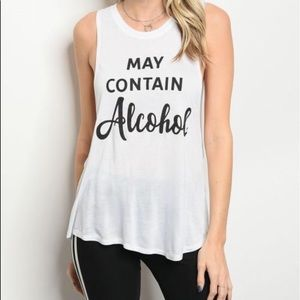 """Tops - """"May Contain Alcohol"""" Tank"""